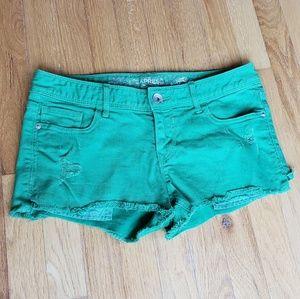 Express Green Cutoff Shorts